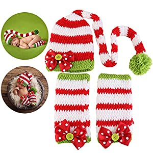 NUOLUX Costume Photography Props Crochet Hat and Clothes for Baby on Christmas Day