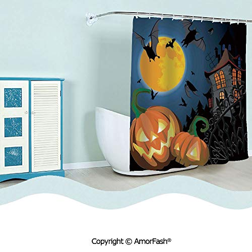 Shower Curtain Fabric with Hooks Bath Curtain Waterproof Gifts for Men and Women,72 x 84 inches,Halloween Decorations,Gothic Halloween Haunted House Party Theme Decor Trick or Treat for Kids,Multi