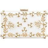 Milisente Women Clutches Pearls Evening Bag Clutch Purse Bags (White)