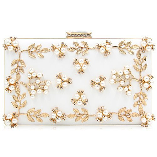 Bridal Evening Clutch Purses Pearl Cocktail Crystal Party Bags For Women(WHITE)