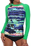 V FOR CITY Womens Swim Shirt Long Sleeve UV Rash Guard Swimsuit UPF 50+ Rashguard Green M