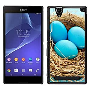 All Phone Most Case / Oferta Especial Duro Teléfono Inteligente PC Cáscara Funda Cubierta de proteccion Caso / Hard Case Sony Xperia T2 Ultra // Blue Eggs Nest