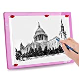 IMAGE Magnetic LED Artcraft Tracing Light Pad A4 Size Stepless Brightness Control with Memory Function USB Powered Tatoo Animation, Sketching, Designing,X-Ray Viewing-Pink