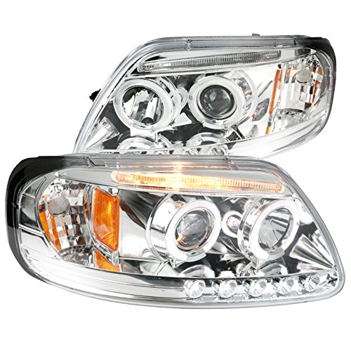 Spec-D Tuning 2LHP-F15097-TM Ford F150 Expedition Chrome Clear - Ford Expedition Chrome Headlights