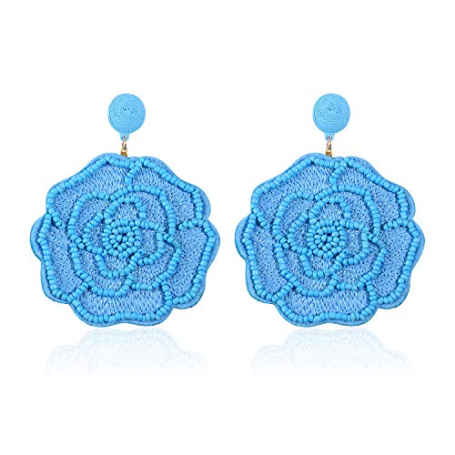 Statement Beaded Flower Earrings for Women Girls Round Drop Dangle Embroidery Handmade Bohemian Lightweight Stud Earring Summer Jewelry with Gift Box - E5 -
