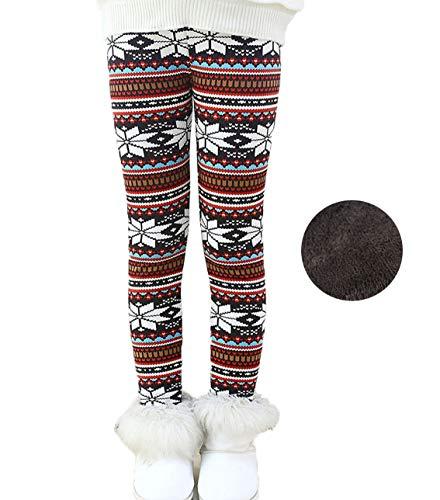 Toddler Kids Girls Pants Winter Thick Fleece Lined Christmas Leggings Tights (Snow Flake White, 4T) -