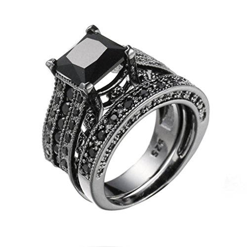 - Auwer Rings, 2-in-1 Womens Vintage White Diamond Silver Engagement Wedding Band Ring Set (US Size 6, Black)