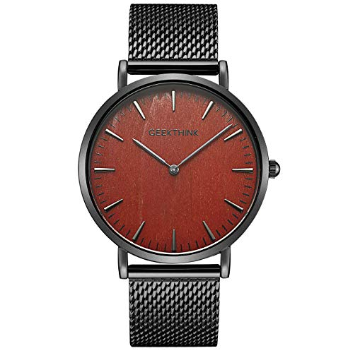 CAOWTAN Minimalist Wooden face Men's Fashion Ultra Slim Analog Quartz Watches with Stainless Steel Mesh Band