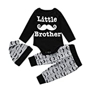 FEITONG Newborn Infant Baby Boy's Print Romper Tops+Long Pants +Hat … (3-6 Months, W-Black)