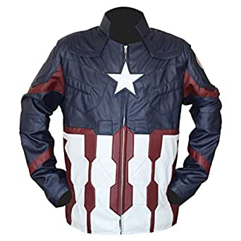 LEATHER ICON STORE Chris Evans Captain America Civil War Jacket Amazon (Small)