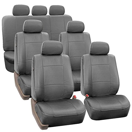 FH Group FH-PU002-1217 3 Row PU Leather Car Seat Covers w. 7 Headrests, Airbag Compatible and Split Bench, Solid Gray Color- Fit Most Car, Truck, SUV, or Van
