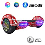 "NHT 6.5"" inch Aurora Hoverboard Self Balancing Scooter with Colorful LED Wheels and Lights - UL2272 Certified Carbon Fiber/Spider/Built-in Bluetooth Speaker Available (Spider Red)"