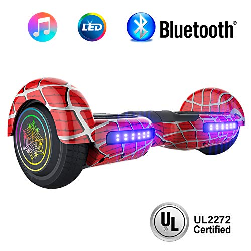 NHT 6.5' inch Aurora Hoverboard Self Balancing Scooter with Colorful LED Wheels and Lights - UL2272 Certified Carbon Fiber/Spider/Built-in Bluetooth Speaker Available (Spider Red)