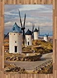 Windmill Area Rug by Ambesonne, Medieval Spain Windmills in Consuegra Old Historical Landmark, Flat Woven Accent Rug for Living Room Bedroom Dining Room, 5.2 x 7.5 FT, Blue White Pale Brown