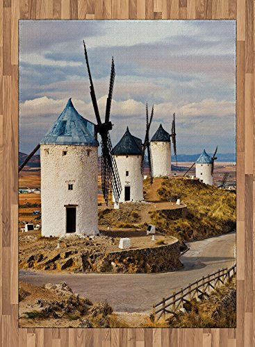 Windmill Area Rug by Ambesonne, Medieval Spain Windmills in Consuegra Old Historical Landmark, Flat Woven Accent Rug for Living Room Bedroom Dining Room, 5.2 x 7.5 FT, Blue White Pale Brown by Ambesonne
