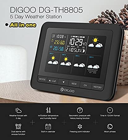 Amazon com: Digoo DG-TH8805 Wireless Five Day Forecast Version