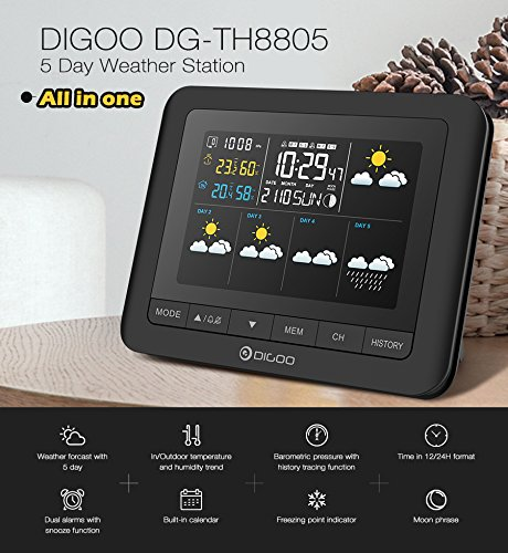 Digoo DG-TH8805 Wireless Five Day Forcast Version Weather Station Full-Color Screen Digital USB Outdoor Barometric Pressure Hygrometer Humidity Thermometer Temperature with Outdoor Sensor Clock by scoutBAR
