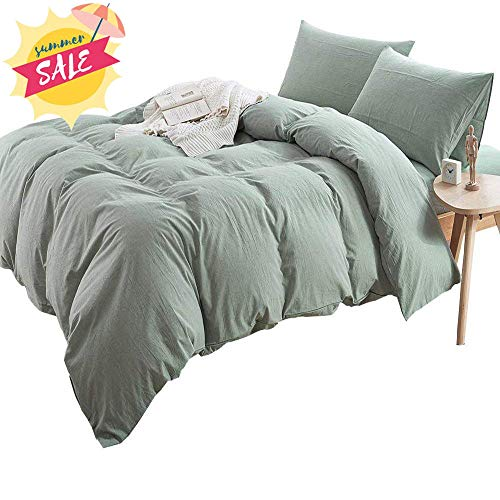 - AMWAN Super Soft Solid Green Duvet Cover Set King Lightweight Washed Cotton Bedding Set Hotel Quality Fresh Duvet Comforter Cover Set Zipper Closure Cotton 3 Piece Bedding Collection King