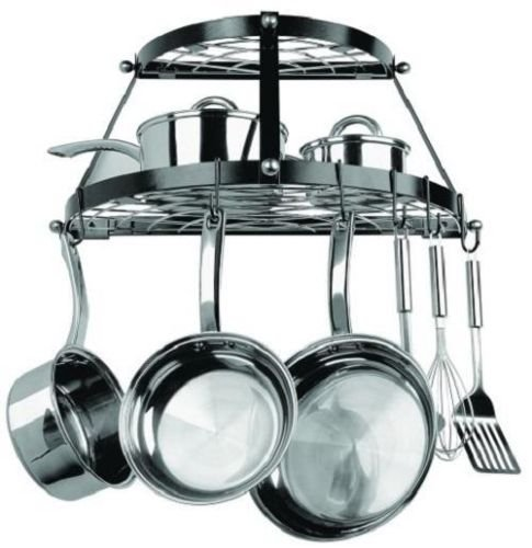 USA Star Enamel Coated Metal Wall Mount Pot Rack Kitchen Cookware Home Use