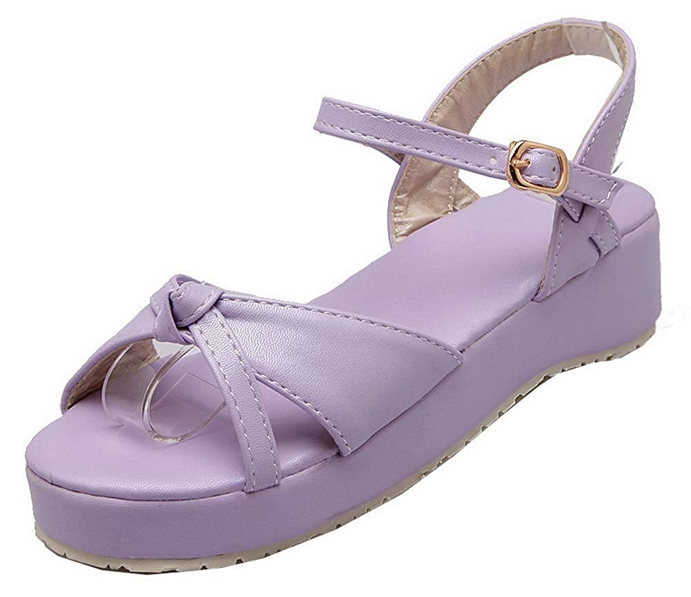 Purple 7.5 B(M) US Purple 7.5 B(M) US WeenFashion Women's Buckle Open Toe Low-Heels Pu Solid Sandals,AMGLX007198