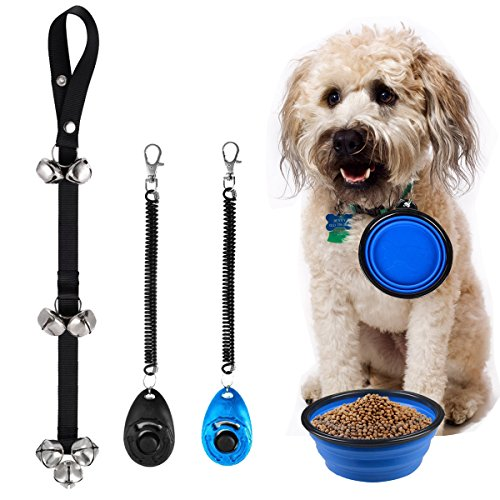 Dog Door Bell Pet Cat Dog Collapsible Silicone Bowl Puppy dog Doorbells Training Clicker Kit,dog training bells for door,Scientific Professional Design 2 Pack Pet Training Clicker