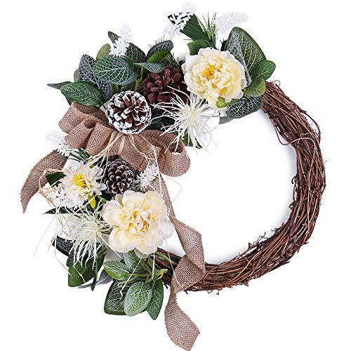 YILIYAJIA Silk Decorative Wreath Spring Front Door Wreath Handmade Artificial Peony Pinecone Wreath Christmas Halloween for Home Wedding Decoration -
