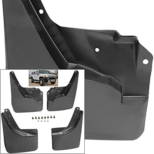 Front Rear Mud Flaps Splash Guards 2006-2010 Hummer H3 Mudguards