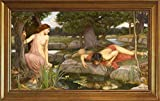 Berkin Arts Framed John William Waterhouse Giclee Canvas Print Paintings Poster Reproduction(Echo Narcissus)