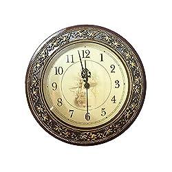 8 3/5 Retro Wall Clock, European style Decorative Wall Clock,Non Ticking Classic Silent Clocks Quartz Clock Brushed Metallic Gold Paint Surface Texture on the Perimeter for Home/Office/School (1pcs)