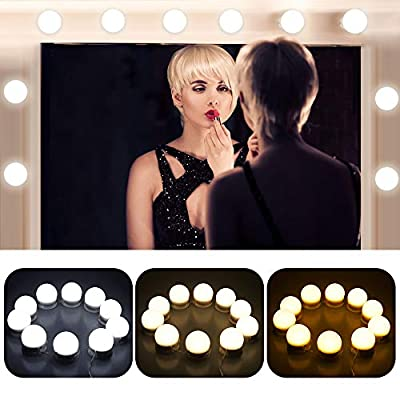 OBNZ LED Vanity Mirror Lights Kit, Hollywood Style 3 Colors Lighting Modes Makeup Mirror Lighting Fixture with 10 Brightness Adjustable Dimmable Bulbs for Vanity Table Set(Mirror Not Included)