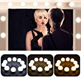 dressing room mirrors OBNZ Vanity Mirror Lights Hollywood Style 3 Colors Lighting Modes Makeup Mirror Lighting Fixture Strip with 10 Brightness Bulbs for Vanity Dressing Room(Mirror Not Included)