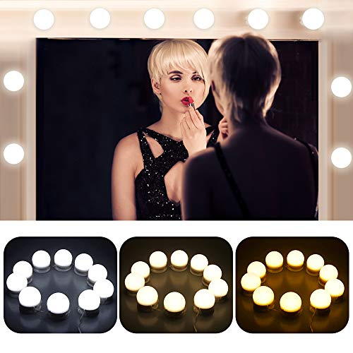 OBNZ Vanity Mirror Lights Hollywood Style 3 Colors Lighting Modes Makeup Mirror Lighting Fixture Strip with 10 Brightness Bulbs for Vanity Dressing Room(Mirror Not Included)