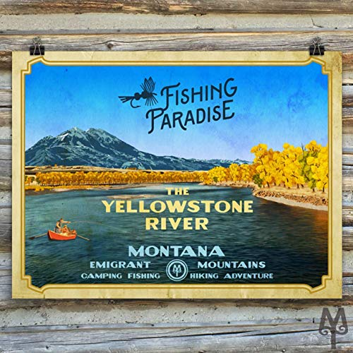 (Yellowstone River, Fishing Paradise, vintage unframed poster)