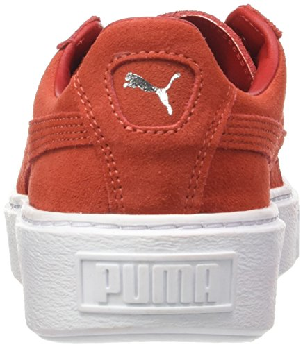 Puma Mocka Plattform Läder Sneaker Kvinnor Utbildare Röd 362.223 03 Röd