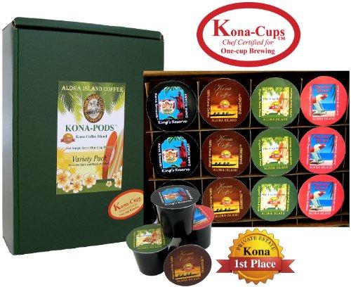 12 Single-Serve Kona-One-Cups of Pure Kona and Kona Hawaiian Coffee, Variety Pack of Our Exclusive Kona-One-Cups for Keurig K-cup Brewing (Aloha Island Island Breakfast)