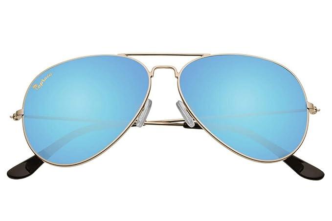 377e3f1270 Capraia Nasco Estilosas Piloto Gafas de Sol Alta Calidad Montura Metálica  Dorada y Lentes Azules Espejadas Polarizadas protección UV400 Hombres  Mujeres: ...