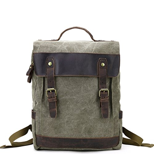 mefly de estilo retro mochila bolsa hombres mochila bolsa de lienzo, verde caqui Army green