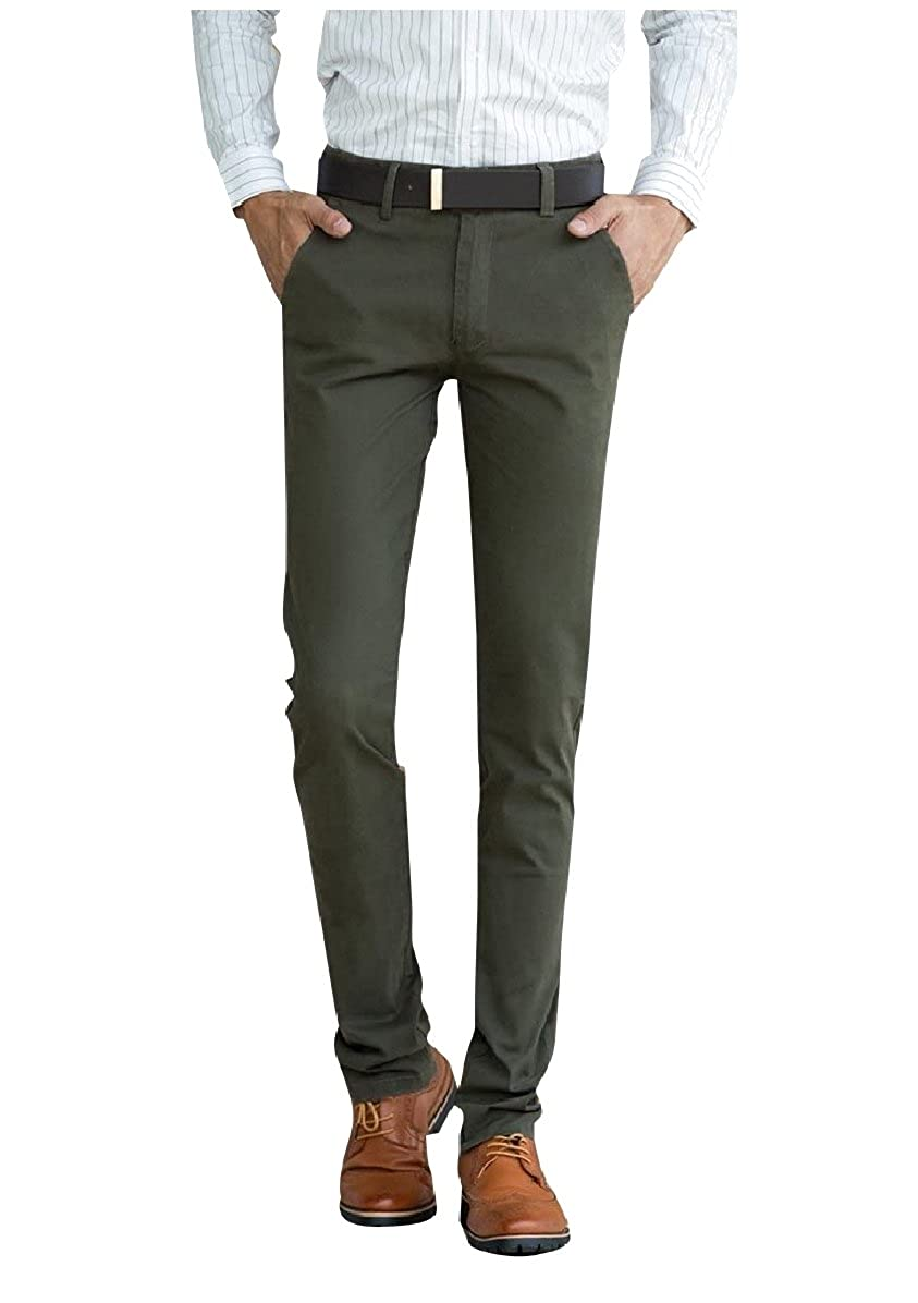 YUNY Men Slim Fitted Cotton Straight No-Iron Solid-Colored Chino Pants Army Green 27