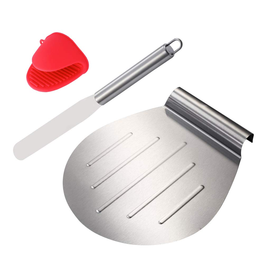 KALREDE Cake Lifter Round 10 Inch - Pizza Peel Pizza Spatula Stainless Steel with 13 Inch Straight Icing Spatula Smoother for Cake, Pizza, Pies, Desserts Bonus a Red Silicone Mitts -Baking Accessories