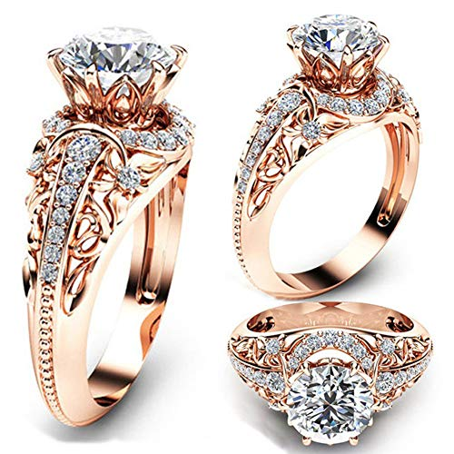- DesirePath Cubic Zirconia Ring 14K Rose Gold Plated Halo Engagement Wedding Rings for Women