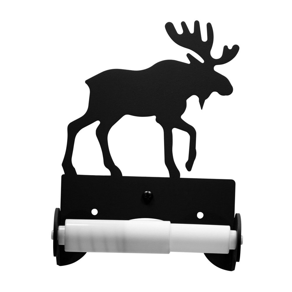 Iron Traditional Style Moose Toilet Roll Tissue Holder - Black Metal