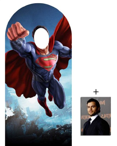 Fan Pack - Man Of Steel Superman Lifesize Cardboard Stand-in Cutout / Standee - Includes 8x10 (25x20cm) Star -