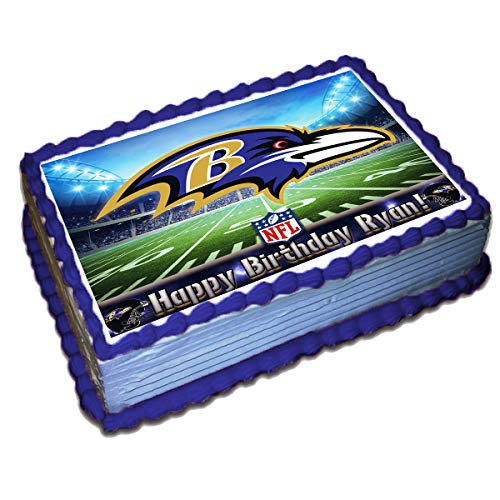 Baltimore Ravens NFL Personalized Cake Topper Icing Sugar Paper 8.5 x 11.5 Inches Sheet Edible Frosting Photo Birthday Cake Topper (Best Quality Printing) (Baltimore Sugar Ravens)
