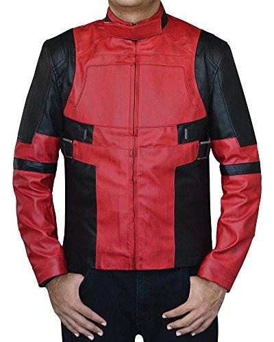 The American Fashion Men Red Black Biker Leather Jacket (Medium, Deadpool 2: Red-Black)