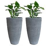 plastic tall pot - Tall Planter Set 2 Flower Pots, 20