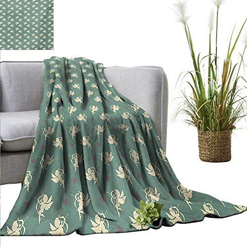 AndyTours Blanket,Green,Greek Mythology Inspired Romance Cupid Pattern with Little Hearts Print,Jade Green Cream Purple,Flannel Super Soft Warm Thick Blanket for Home 50