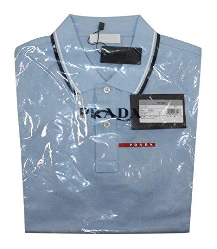 Prada Men's Cotton Piqué Short Sleeve Slim Fit Polo Shirt, Sky-Blue (Cielo) (X-Large) by Prada (Image #2)