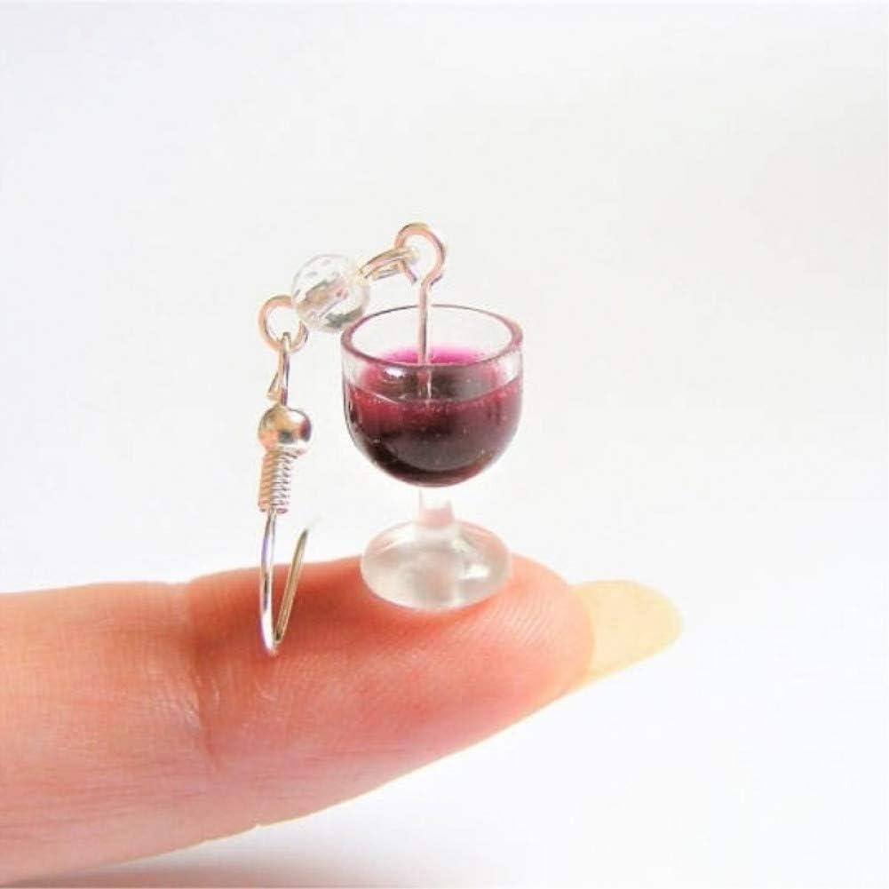 Pendientes de Comida en Miniatura LINLIN Pendientes de Vino de Comida en Miniatura Hecha a Mano Mini Regalo de de Comida para Amante del Vino