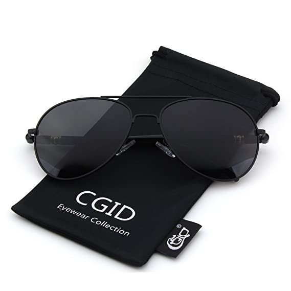 Cgid Cm29 Classic Metal Mirror Lens Aviator Polarized Sunglasses W/Spring Hinges,Matte Black Gray by Amazon