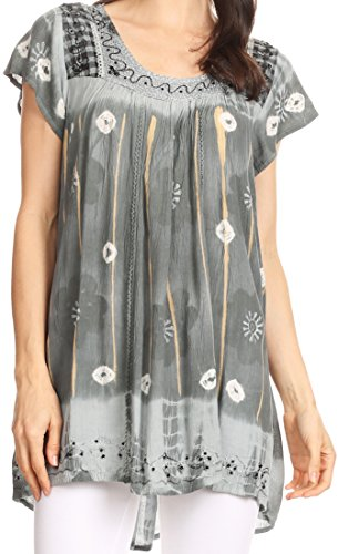Sakkas 43614 - Short sleeve tie dye gingham peasant top with sequin embroidery - Grey - (Sequin Peasant Top)